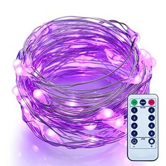 Dimmable LED String Lights Battery Powered with Remote Control, ITART Romantic Purple Mini String Lights 50 LEDs/ 16.7ft (5m) Super Bright Ultra Thin Silver Wire Rope Lights for Trees Wedding Bedroom >>> Read more reviews of the product by visiting the link on the image.