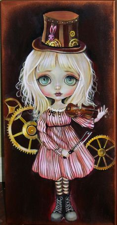 Original ACRYLIC PAINTING BIG EYE GIRL STEAMPUNK GEAR VIOLIN low brow ART #steampunklowbrow