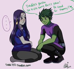 Beast Boy Raven Week 2015 VuV~ I have a lot of fun drawing older. Teen Titans Raven, Teen Titans Go, Teen Titans Fanart, Teen Titans Starfire, Cartoon Kunst, Cartoon Art, Robin And Raven, Raven Beast Boy, Dc Comics