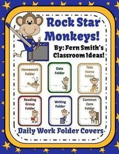 Daily Work Folder Covers - Rock Star Monkey Themed #TPT $Paid