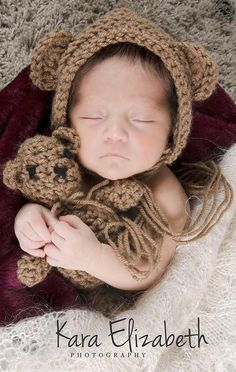 Newborn Bear Bonnet & Bear doll - crochet - made to order