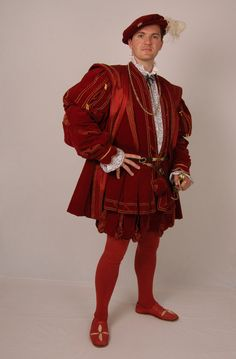 Tudor Tailor - courtier's suit made for JMD at Hampton Court Palace. Based on a painting in the Royal Collection of an unknown man. Suit consists of doublet, hose and gown and bonnet in red silk velvet with red and gold striped 'pullings out'. Mode Renaissance, Renaissance Fair Costume, Medieval Costume, Renaissance Clothing, Renaissance Fashion, Dinastia Tudor, Tudor Tailor, Tudor Costumes, Period Costumes