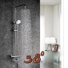 Luxury High Quality Chrome Finish Ultra-thin Rain Shower Faucet Set Bathroom Wall Mounted rmostatic Valve W/ Hand Sprayer #Affiliate