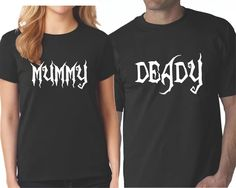Halloween Matching Couple Shirts - Cute Mummy and Deady Couples Best Couples Costumes, Funny Couple Halloween Costumes, Easy Costumes, T Shirt Costumes, Matching Family T Shirts, Matching Couples, Diy Halloween Shirts, Halloween Party, Couple T Shirt Design
