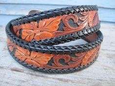hand tooled leather belt by Tony Lama