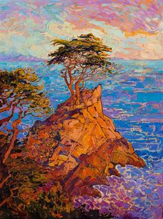 Lone Cypress, a famous tree on the 17-mile drive in Pebble Beach, California.