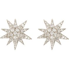 Ileana Makri Women's Centaurus Stud Earrings ($4,645) ❤ liked on Polyvore featuring jewelry, earrings, colorless, square stud earrings, 18k white gold earrings, clear stud earrings, white gold earrings and white earrings