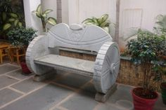 Temple Stone Architecture & Idols | Kerala | India Stone Garden Bench, Stone Planters, Stone Bench, Outdoor Living Patios, Stone Water Features, Traditional Sculptures, Rock Sculpture, Concrete Bench, Door Gate Design