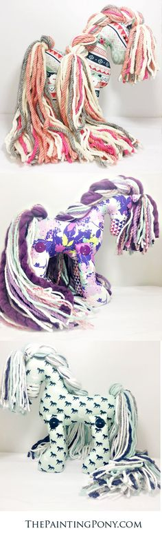 100% Hand-made stuffed ponies for the horse lover. each pony is special and one of a kind limited edition. Any equestrian will LOVE these heirloom gifts that are great for any occasion from a baby's first birthday to graduation and Christmas. These stuffed horses make great keepsakes. these are sooo cute!