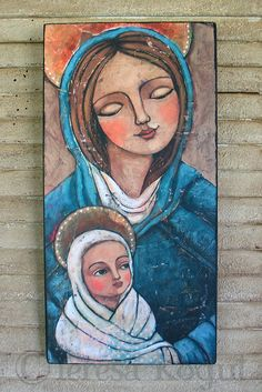 Mary and Jesus 7x14 print on wood by cre84life, $40.00 #Mary #Jesus