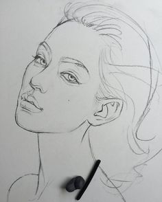 Simple Face Drawing, Realistic Face Drawing, Girl Face Drawing, Woman Drawing, Drawing Drawing, Portrait Sketches, Art Sketches, Art Drawings, Design Poster