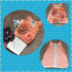 Orange, cream, brown tank top Get ready for summer with this lightweight tank. Beautiful orange, cream and brown with lace going down your spin. Perfect combination of cute and sexy. Comes from a smoke/pet free home. Vanity Tops Tank Tops