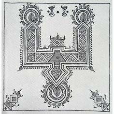 Black and white Mandana painting of 'paglya' type with kundan detailing