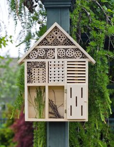 This handsome habitat box offers species-specific shelter and nesting materials for beneficial insects and pollinators. Gardener's Supply exclusive.