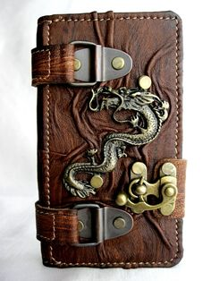 Costum Handmade leather Samsung Galaxy S5 mobile phone case cover holder with Dragon emblem
