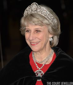 The Duchess of Gloucester, who celebrated her 70th birthday on Sunday, wears Queen Mary's Honeysuckle Tiara at a Guildhall banquet for the President of Singapore, 22 October 2014