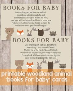 Printable Books For Baby Cards - Woodland Animals Theme Baby Shower Cards, Baby Cards, Baby Shower Parties, Baby Shower Themes, Baby Boy Shower, Baby Shower Invitations, Shower Ideas, Shower Party, Animal Baby Showers