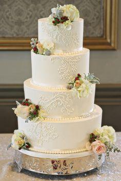 2 Tier Wedding Cakes, Pretty Wedding Cakes, Elegant Wedding Cakes, Wedding Cakes With Flowers, Elegant Cakes, Wedding Cake Designs, Pretty Cakes, Beautiful Cakes, Rustic Wedding
