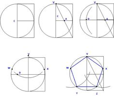 Dirk Bertels - Constructing the Pentagon - Mathe Ideen 2020 Mathematics Geometry, Basic Geometry, Geometry Pattern, Geometry Art, Sacred Geometry, Geometric Drawing, Geometric Shapes, Geometric Construction, Pentagon Shape