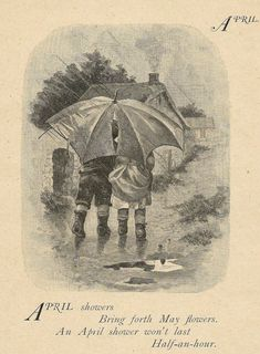 Antique April Showers Poem Illustration - Early 1900's Children Boy and Girl Umbrella In the Rain - Kids Book Plate Art Print Wall Decor