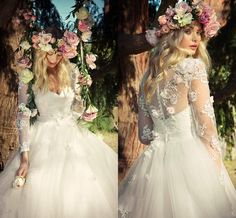 Lace Long Sleeves Wedding Dresses 2015 Deep V Neck Zipper Back Long Bridal Gowns Handmade Flower Appliques Ball Gown Wedding Dress 2016 Online with $165.77/Piece on Angelia0223's Store | DHgate.com