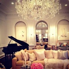 Luxurious living room with piano