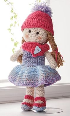 Lil' Missy Crochet Doll - This adorable little doll is the perfect companion for your little one. Kit includes Mary Maxim Ultra Mellowspun, Sugar Baby Stripes yarn, and buttons (may vary). Crochet Hook Sizes, Knit Or Crochet, Crochet Hooks, Dk Weight Yarn, Crochet Doll Pattern, Little Doll, Crafts For Kids To Make, Stuffed Toys Patterns, Crochet Animals