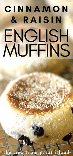 Cinnamon Raisin English Muffin Recipe, English Muffin Recipes, Homemade English Muffins, Cooking Bread, Bread Baking, Cooking Recipes, Baking For Beginners, Delicious Desserts, Dessert Recipes