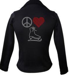 Kami-So Polartec Ice Skating Jacket - Peace Love Skate 3 | This beatiful figure skating jacket is made from Polartec Fabric #figureskating #figureskatingstore #figureskates #skating #skater #figureskater #iceskating #iceskater #icedance #ice #skates #pants #iceskates #skatingapparel #skatingjacket #kamiso #figureskatingjacket