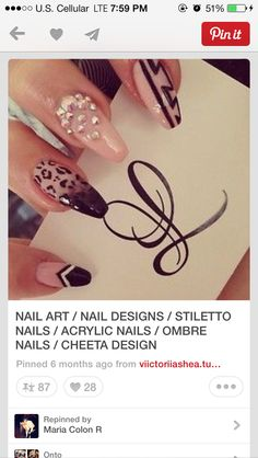 Cheetah ballerina stiletto nails