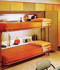 Bunk Beds Adjust, People Do Not. – Bunk Beds for Kids Mid Century Bedroom, Mid Century Decor, Mid Century House, Mid Century Furniture, 1970s Furniture, 60s Bedroom, Barbie Furniture, Furniture Design, Bedrooms