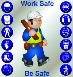 Illustration about Builder wearing personal protection equipment and safety icons. Illustration of caricature, icons, manufacturing - 16023690 Safety Quotes, Safety Slogans, Health And Safety Poster, Safety Posters, Safety Signs And Symbols, Safety Pictures, Workplace Accident, Workplace Safety Tips, Construction Safety