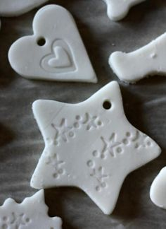 clay christmas decorations...the best salt dough recipe!1/2 cup cornstarch 1 cup baking soda 3/4 cup water