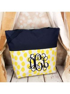 www.ewam.com Market Shopping Tote in Yellow Brushed Dots and Navy Blue