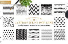 Stripe & Line Patterns by PatternSupplyCo on @creativemarket