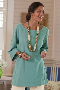 Great Gauze Tunic - Gauze Tunic, Longer Length, Three-quarter Length Sleeves | Soft Surroundings