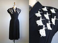 Vintage 1940s Tiny Dancer Dress / Black silk rayon with white studded dancers by GoldSeamVintage, $198.00