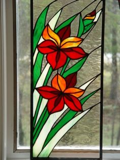 Orange Lillies Stained Glass