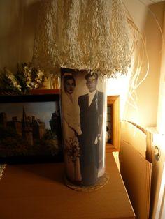 Plastic tube, old lace, granma's wedding photo and electric tealight inside!- Kalliristi art!