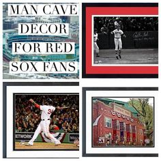 Awesome Decor for a Red Sox themed man cave. Man Cave Desk, Man Cave Shed, Man Cave Home Bar, Man Cave Basement, Man Cave Garage, Classy Man Cave, Man Cave Posters, Sports Man Cave, Garage Floor Plans