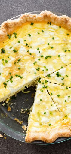 Leek and Goat Cheese Quiche. Creamy, tangy goat cheese and sweet, onion-y leeks make this a springtime crowd pleaser.