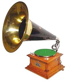 Victrola. Found one of these horns at a junk store in Chouteau. Going to buy it when I go back if it's still there.