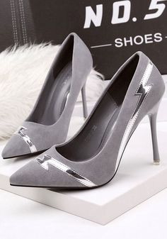 Grey Point Toe Stiletto Fashion High-Heeled Shoes - #fashion #Grey #High-Heeled #Point #Shoes #Stiletto #Toe