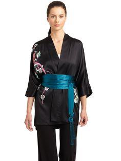 Josie Natori Saran Silk Belted Kimono Jacket in Black | Lyst
