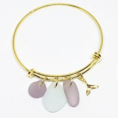 Adjustable Yellow gold-tone Sea Glass Charm Bracelet
