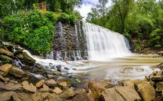 Download wallpapers waterfall, forest, rock, river, beautiful waterfalls