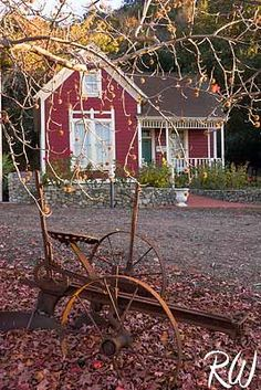 Hamilton House, Antique Farming Equipment and Liquid Amber Tree in Fall Season / Centennial Heritage Park, Glendora, California