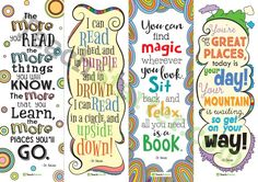 Teaching Resource: A set of 4 decorative bookmarks with motivational Dr. Seuss quotes.