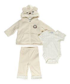 Loving this Ivory Bear Jacket Set - Infant on #zulily! #zulilyfinds $14.99