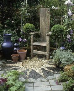 Mosaic Patio 129 - All For Garden Outdoor Projects, Garden Projects, Pvc Projects, Unique Garden, Pebble Mosaic, Stone Mosaic, Rock Mosaic, Mosaic Garden, Garden Spaces
